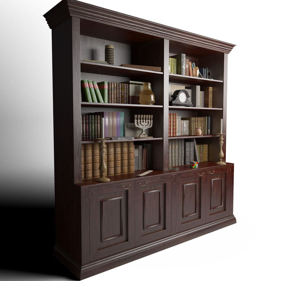 Bookshelf With Books royalty-free 3d model - Preview no. 4