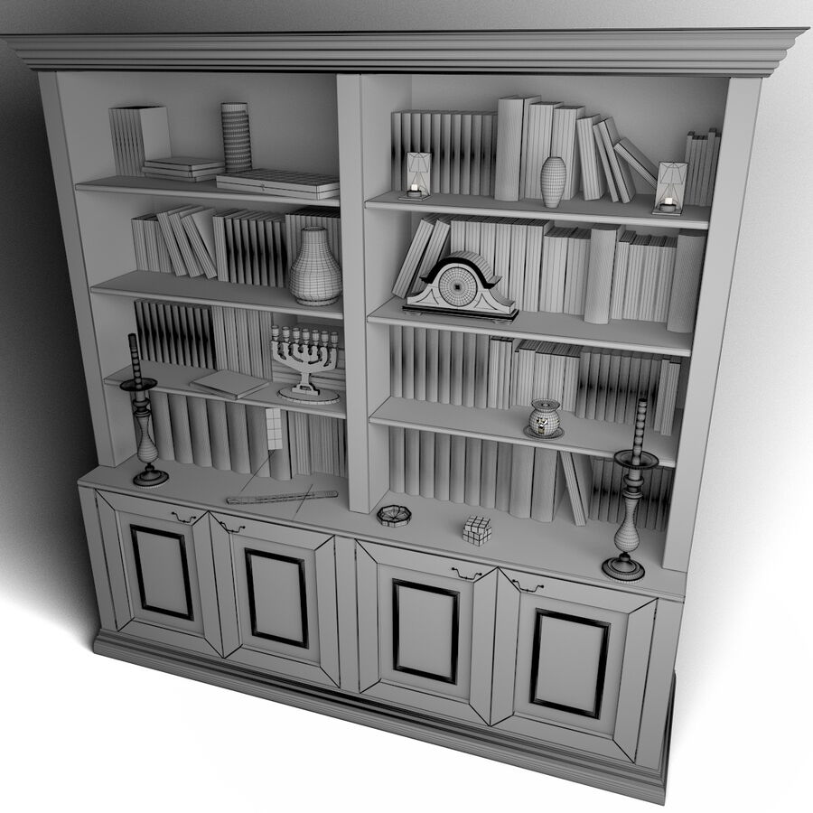 Bookshelf With Books royalty-free 3d model - Preview no. 8