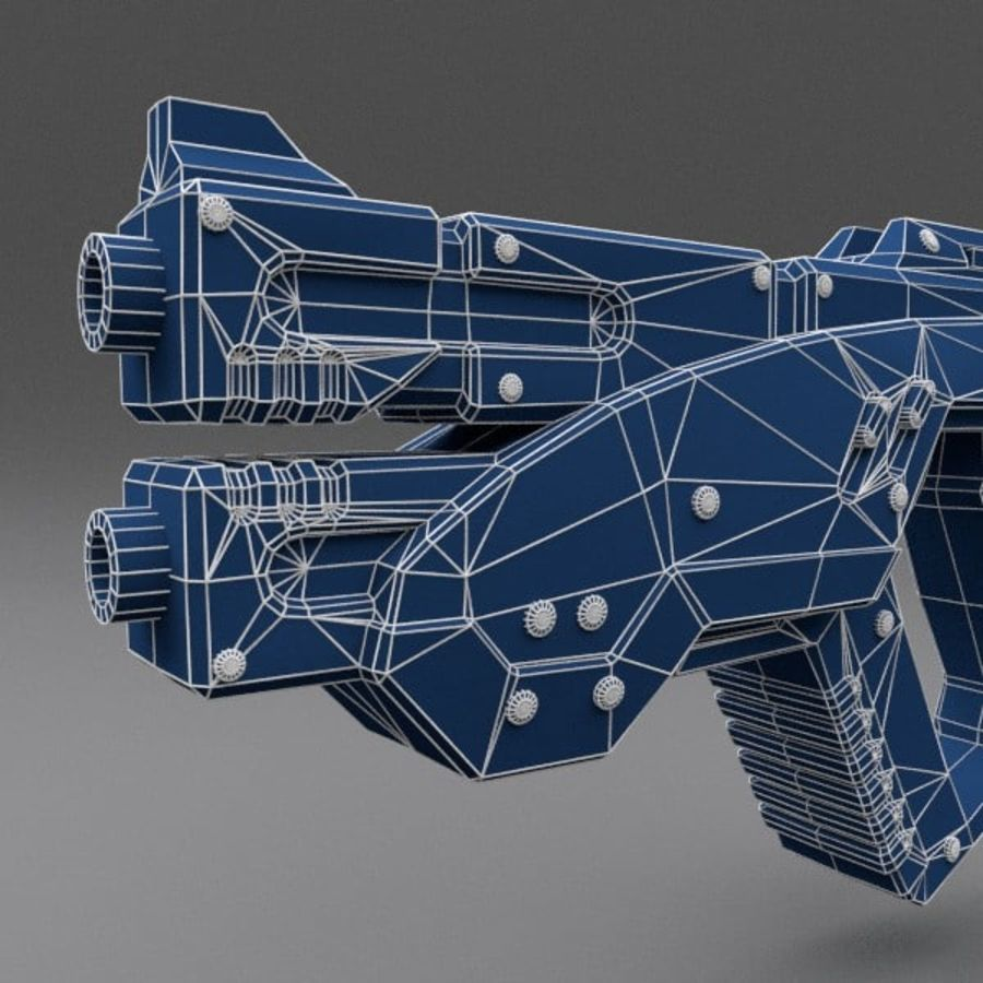 Scifi Gun 02 royalty-free 3d model - Preview no. 6