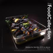 在玻璃盘的淡菜 3d model