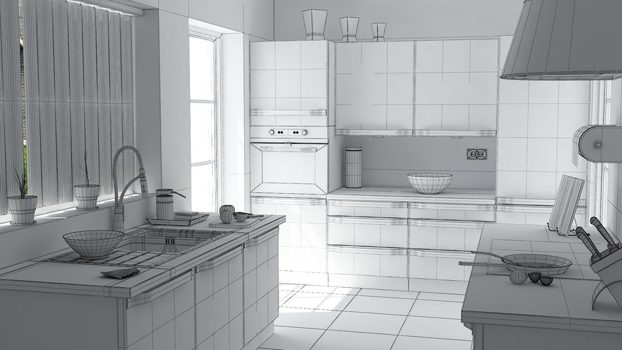 kitchen Interior Design royalty-free 3d model - Preview no. 3
