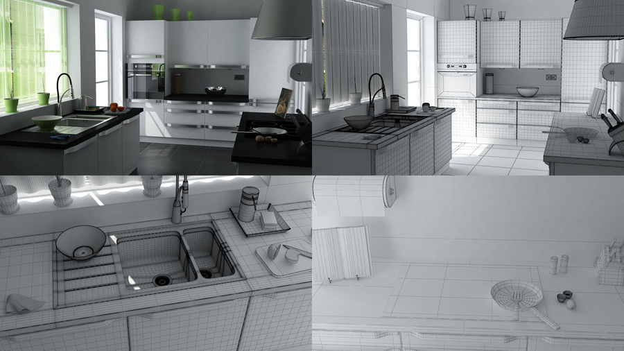 kitchen Interior Design royalty-free 3d model - Preview no. 1