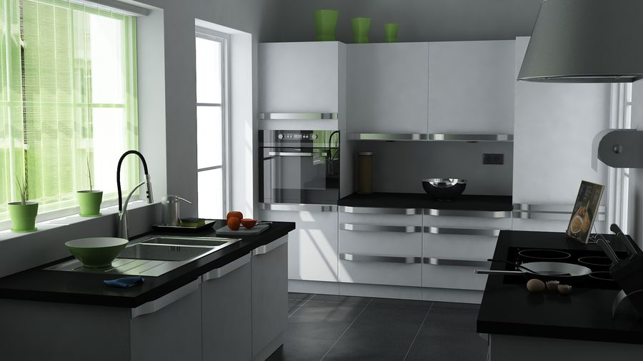 kitchen Interior Design royalty-free 3d model - Preview no. 2