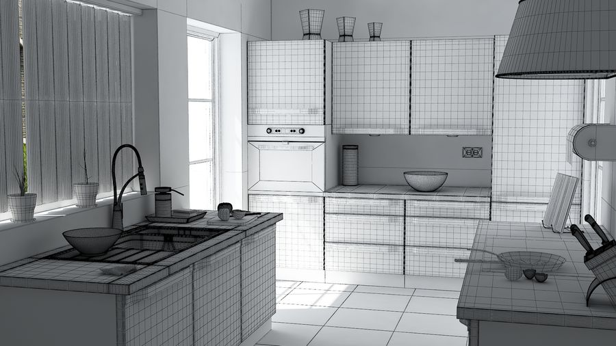 kitchen Interior Design royalty-free 3d model - Preview no. 4