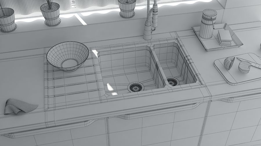 kitchen Interior Design royalty-free 3d model - Preview no. 6