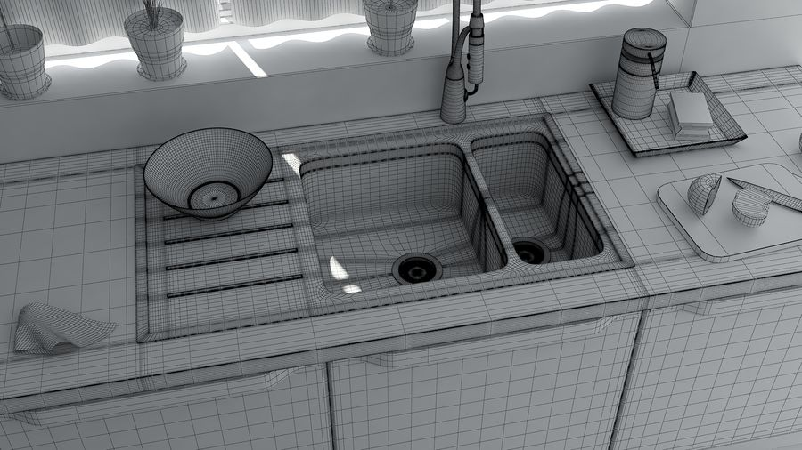 kitchen Interior Design royalty-free 3d model - Preview no. 7