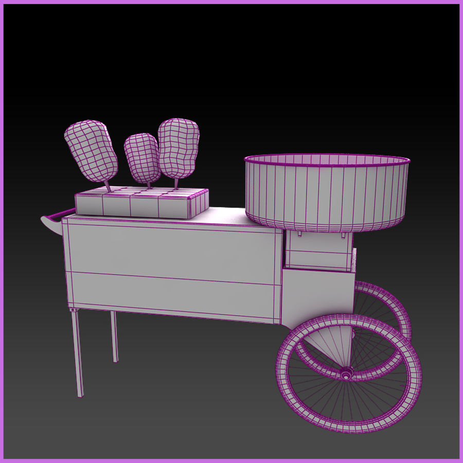 Cotton Candy Cart royalty-free 3d model - Preview no. 7