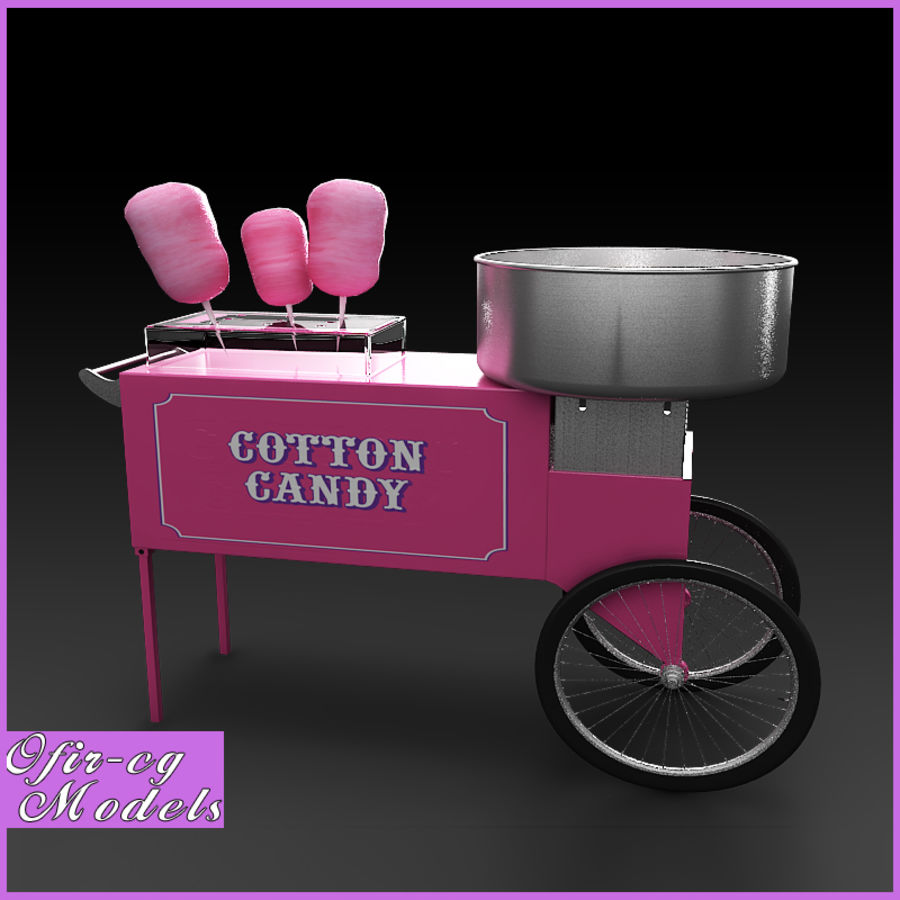 Cotton Candy Cart royalty-free 3d model - Preview no. 1