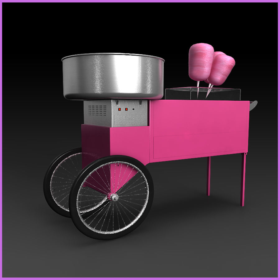Cotton Candy Cart royalty-free 3d model - Preview no. 4
