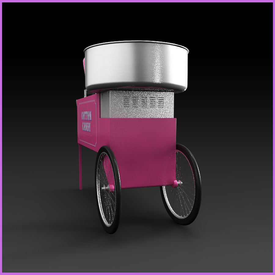 Cotton Candy Cart royalty-free 3d model - Preview no. 3