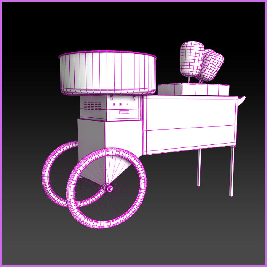 Cotton Candy Cart royalty-free 3d model - Preview no. 10