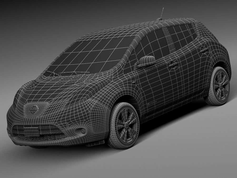 Nissan LEAF 2014 royalty-free 3d model - Preview no. 15