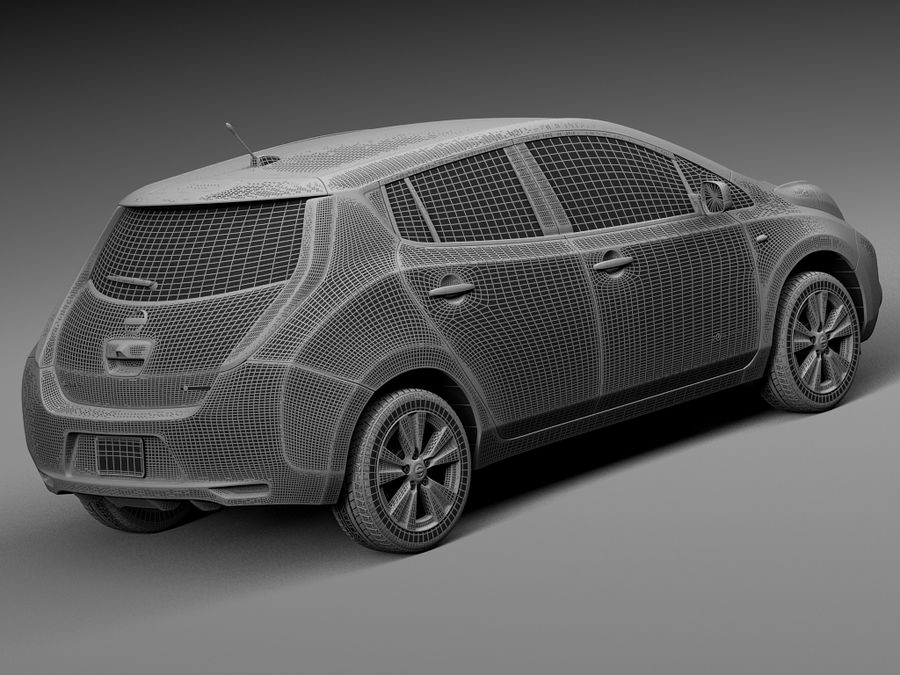 Nissan LEAF 2014 royalty-free 3d model - Preview no. 14