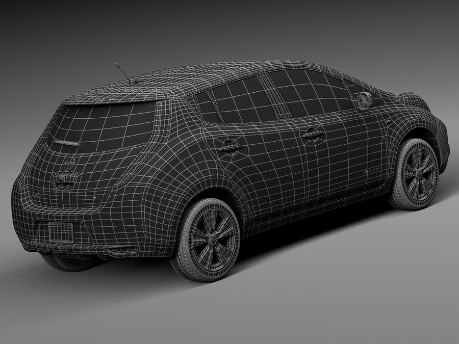 Nissan LEAF 2014 royalty-free 3d model - Preview no. 16