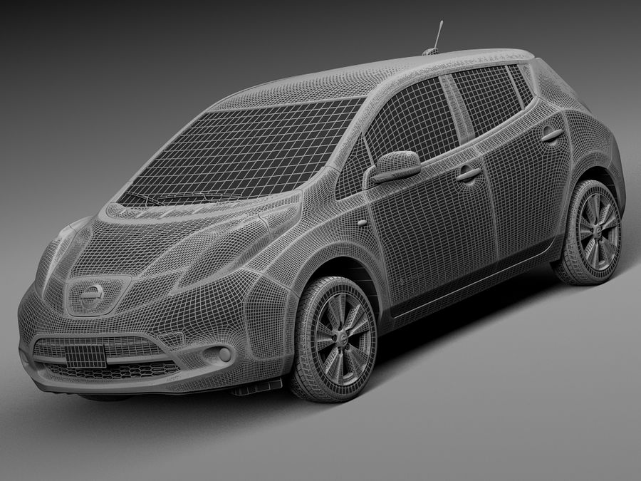 Nissan LEAF 2014 royalty-free 3d model - Preview no. 13