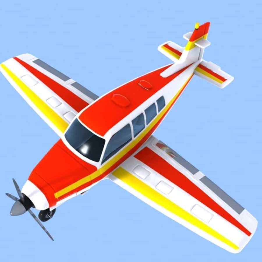 Cartoon Trainer Aircraft 1 royalty-free 3d model - Preview no. 2