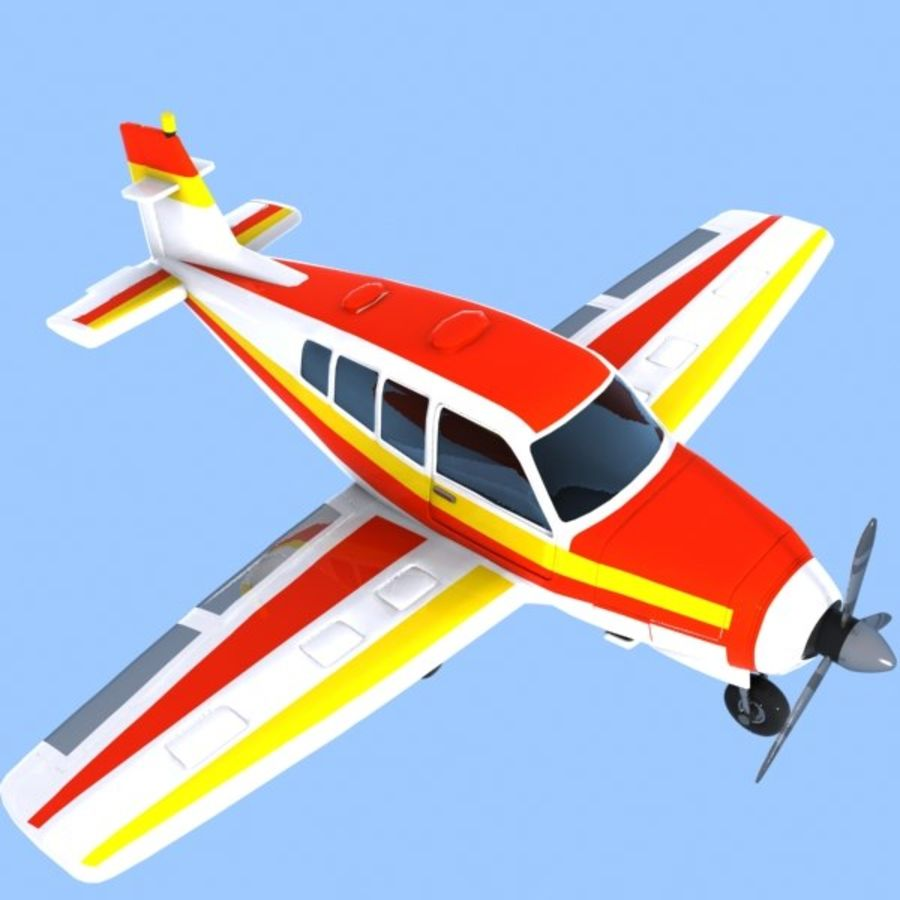 Cartoon Trainer Aircraft 1 royalty-free 3d model - Preview no. 3