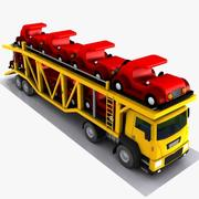 Cartoon Car Carrier Trailer 3d model