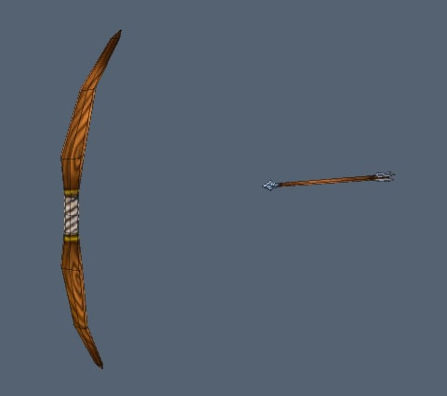 Bow and arrow royalty-free 3d model - Preview no. 2