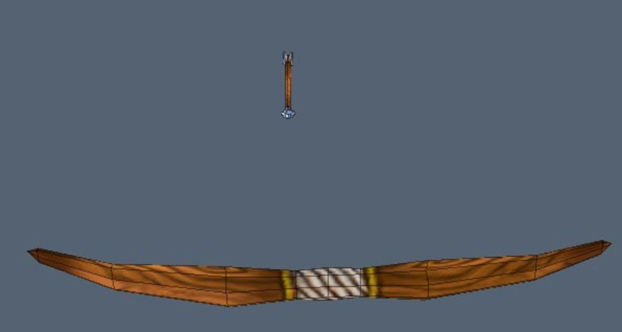 Bow and arrow royalty-free 3d model - Preview no. 6