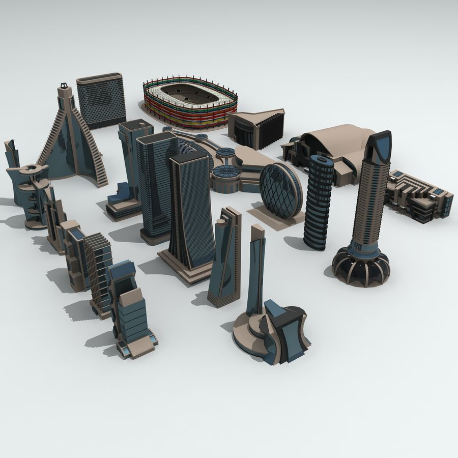 Gebäude der Stadt royalty-free 3d model - Preview no. 4