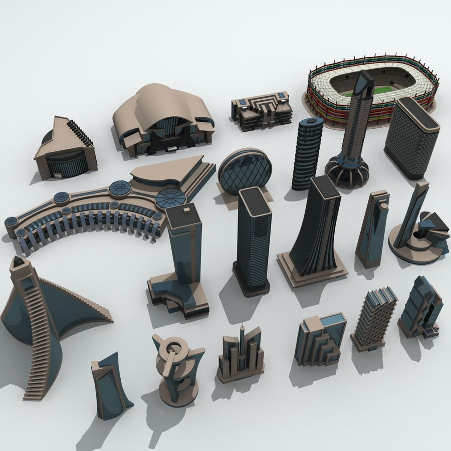 Gebäude der Stadt royalty-free 3d model - Preview no. 3