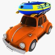 Cartoon auto met een boot 3d model