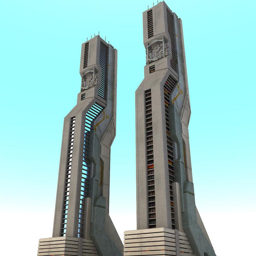 Futurystyczny budynek Sci Fi H royalty-free 3d model - Preview no. 3