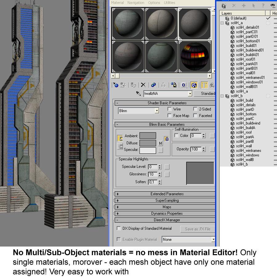 Futurystyczny budynek Sci Fi H royalty-free 3d model - Preview no. 9