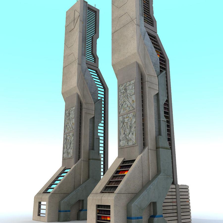 Futurystyczny budynek Sci Fi H royalty-free 3d model - Preview no. 4