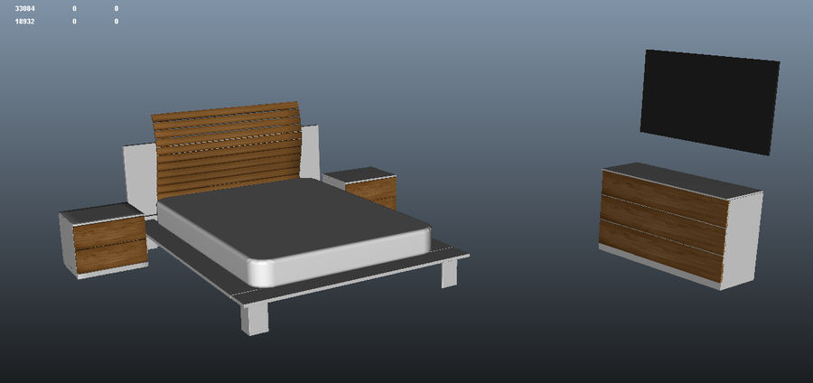 Full bedroom furnitures royalty-free 3d model - Preview no. 3