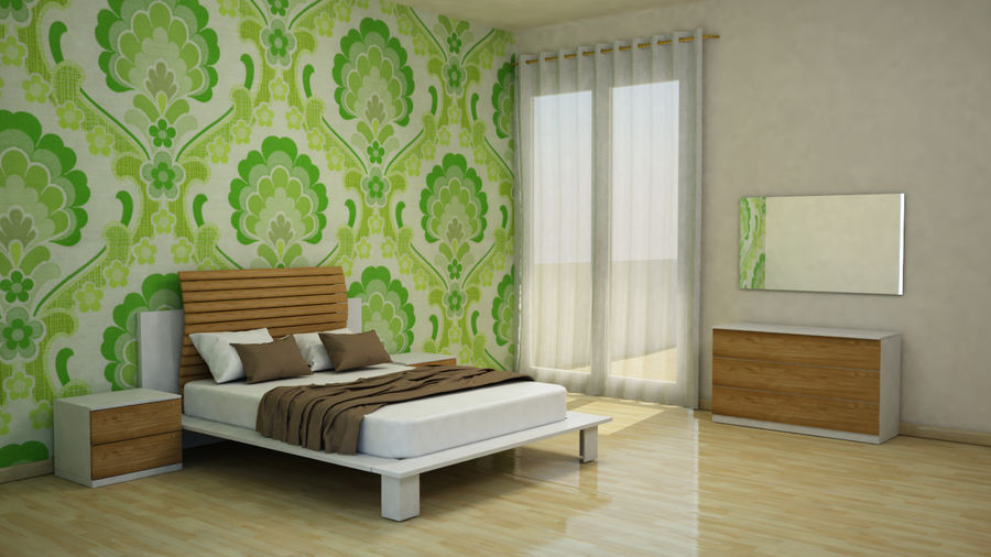 Full bedroom furnitures royalty-free 3d model - Preview no. 1