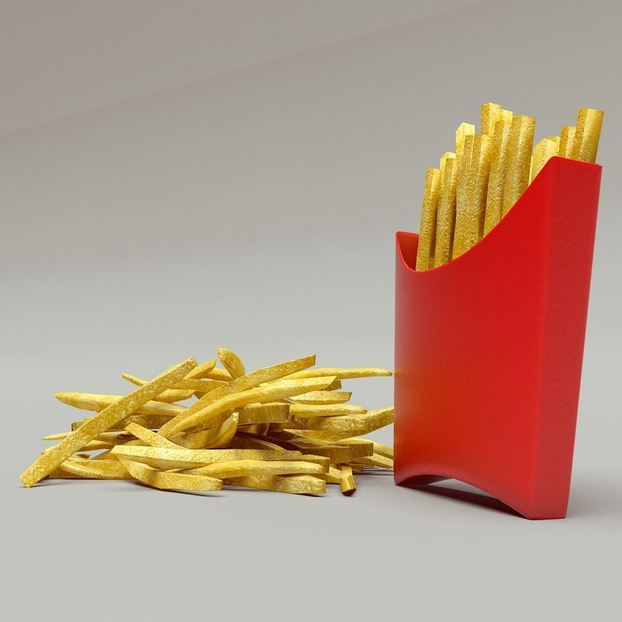 Fries royalty-free 3d model - Preview no. 3