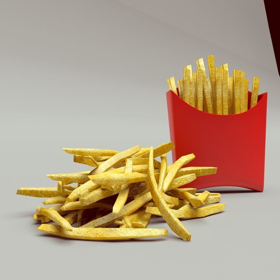 Fries royalty-free 3d model - Preview no. 4