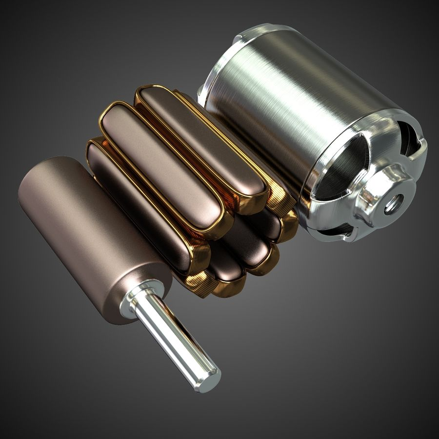 Electric Motor 2 Simplified royalty-free 3d model - Preview no. 5