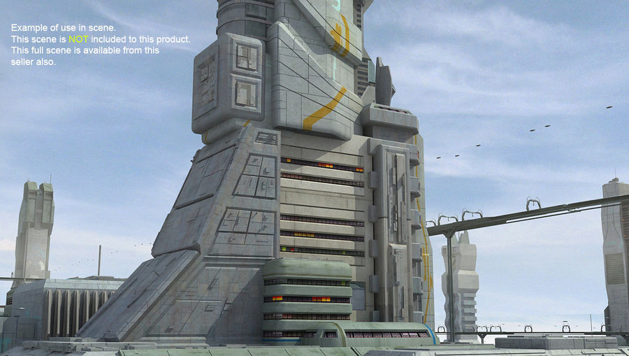 Futurystyczny budynek Sci Fi royalty-free 3d model - Preview no. 16