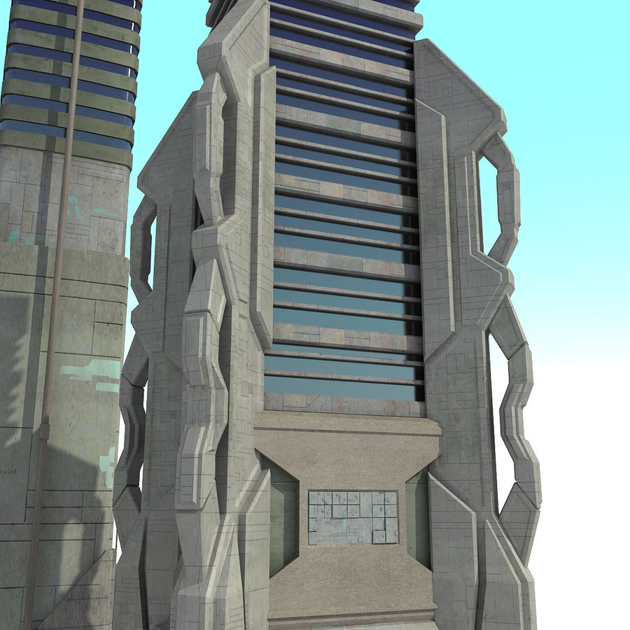Sci Fi City Set 4 futuristisch royalty-free 3d model - Preview no. 9