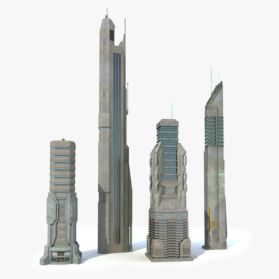 Sci fi City Set 4 Futuristic royalty-free 3d model - Preview no. 2