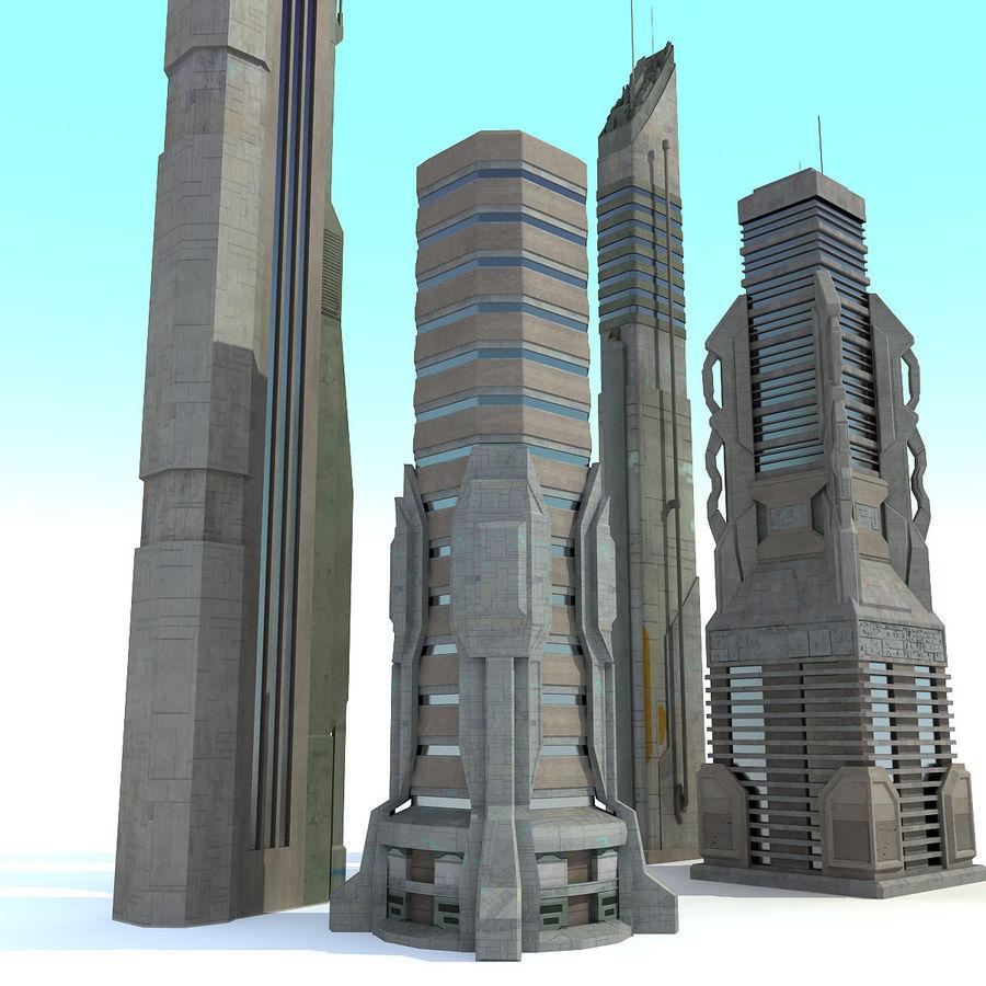 Sci fi City Set 4 Futuristic royalty-free 3d model - Preview no. 5