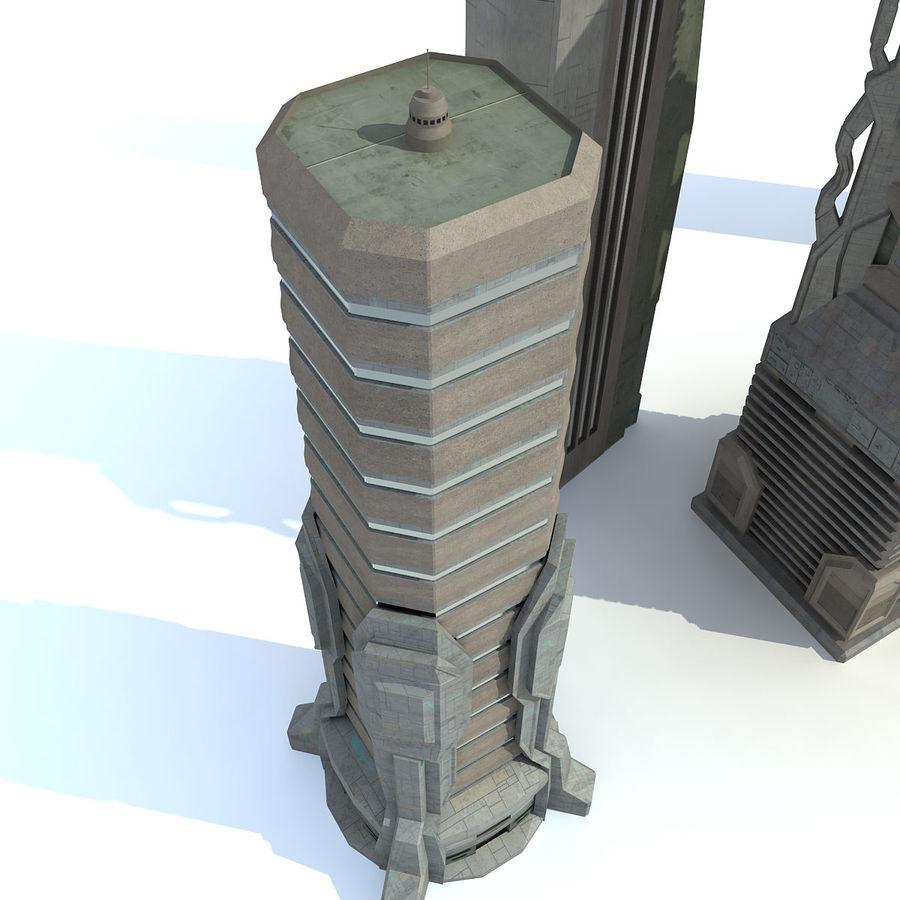 Sci fi City Set 4 Futuristic royalty-free 3d model - Preview no. 6
