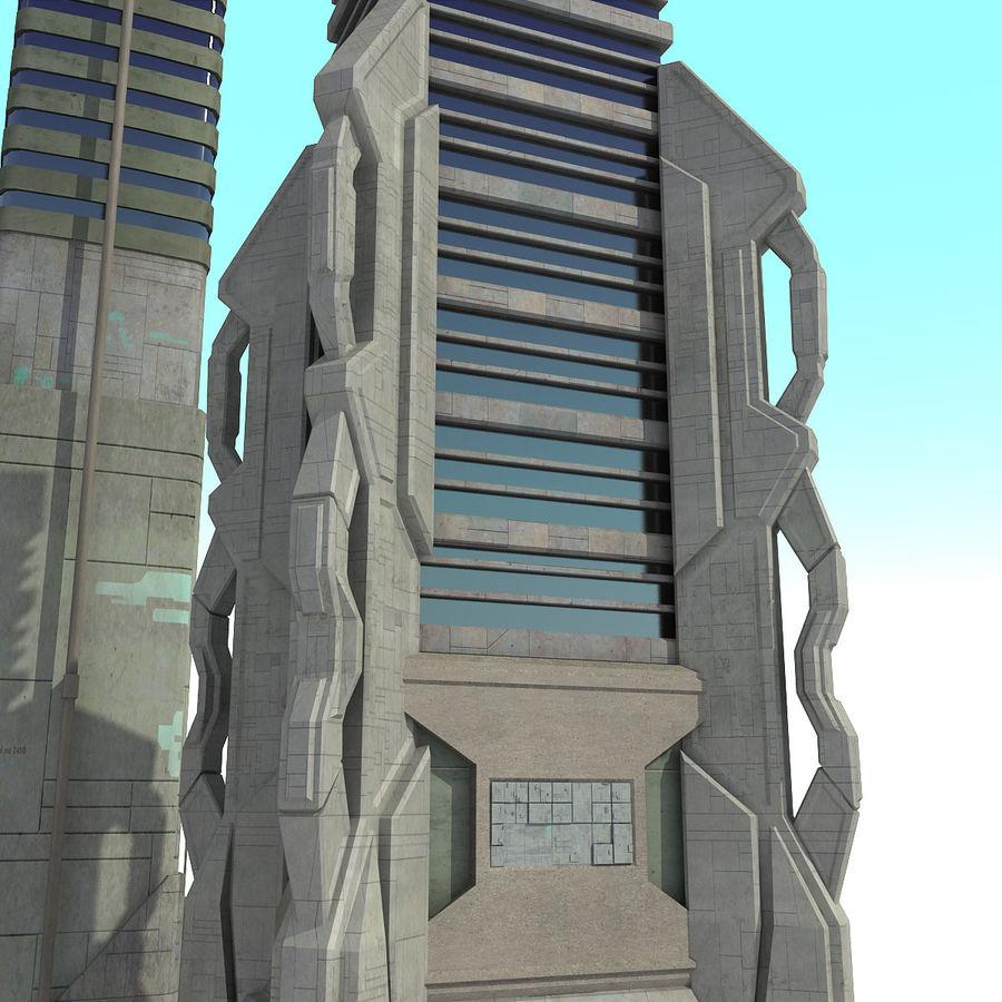 Sci fi City Set 4 Futuristic royalty-free 3d model - Preview no. 9