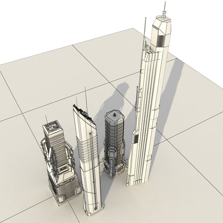 Sci fi City Set 4 futuriste royalty-free 3d model - Preview no. 16