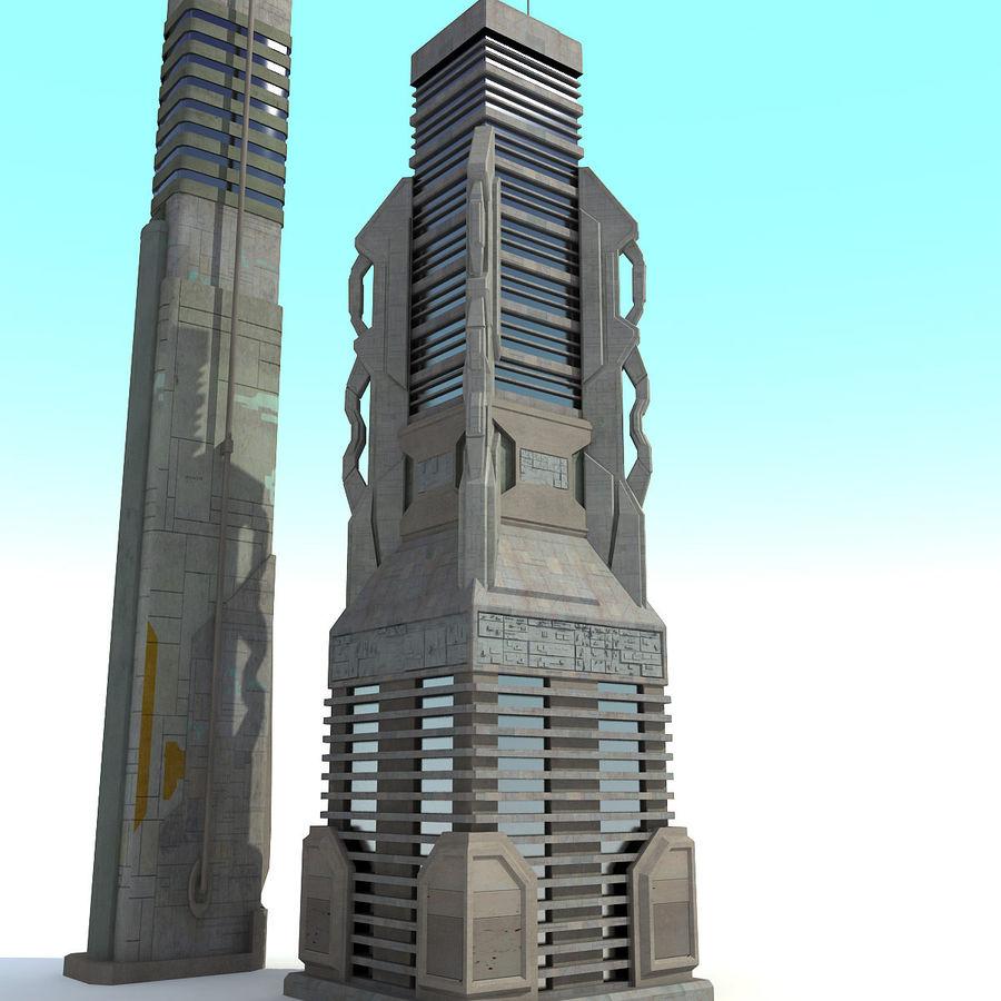 Sci fi City Set 4 Futuristic royalty-free 3d model - Preview no. 7