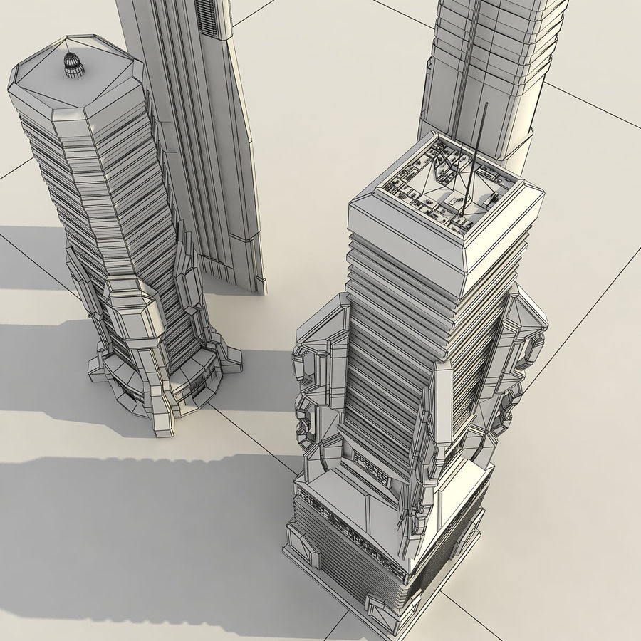 Sci fi City Set 4 futuriste royalty-free 3d model - Preview no. 4