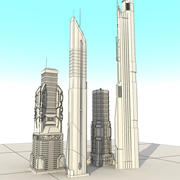 Sci fi City Set 4 Futuristic 3d model