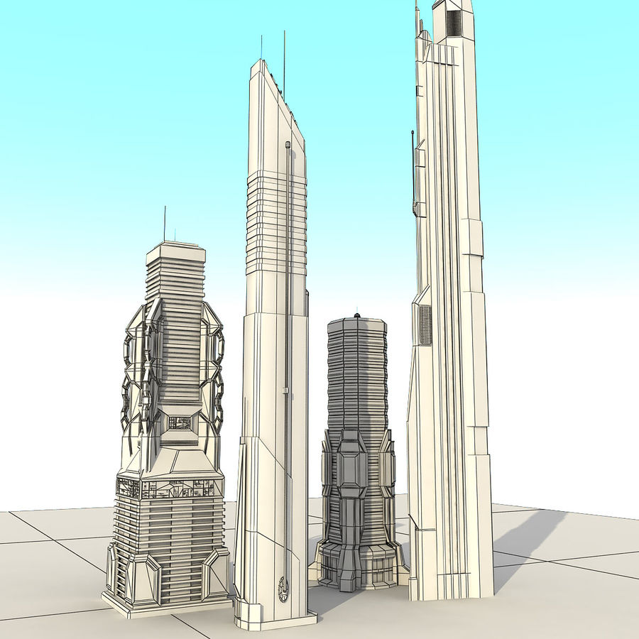 Sci fi City Set 4 futuriste royalty-free 3d model - Preview no. 1