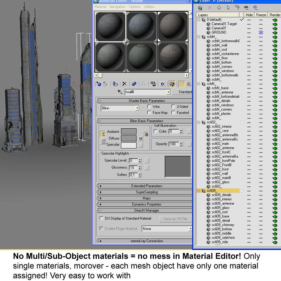 Sci fi City Set 4 Futuristic royalty-free 3d model - Preview no. 20
