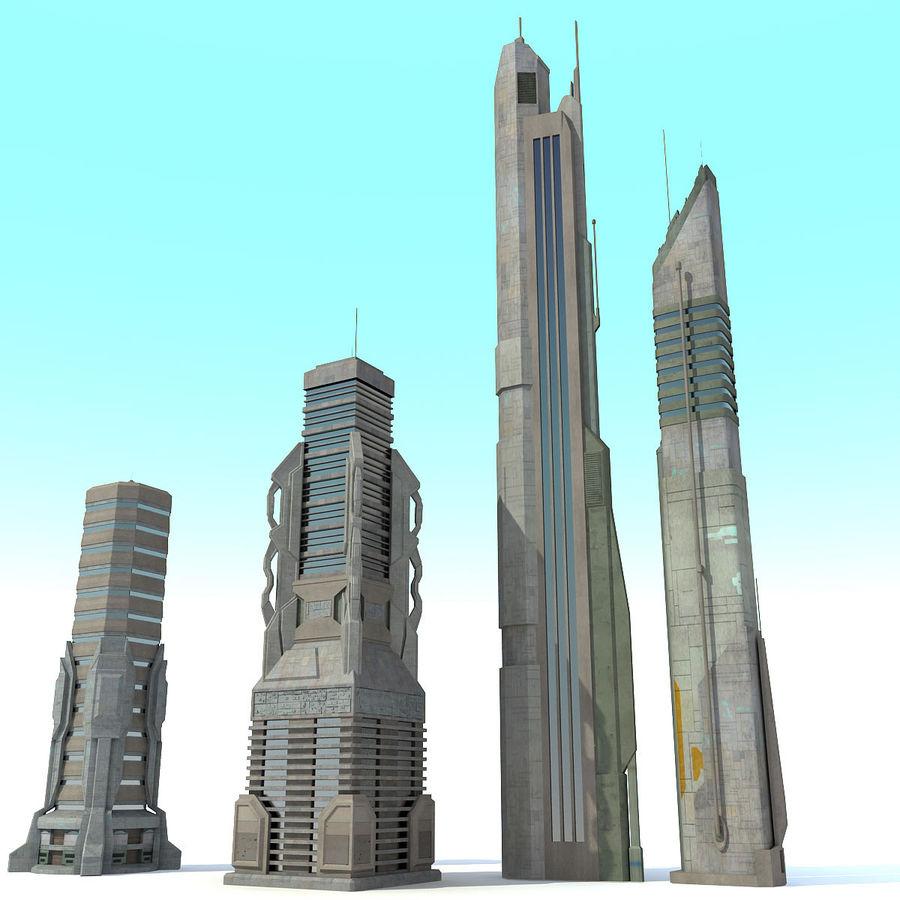 Sci fi City Set 4 Futuristic royalty-free 3d model - Preview no. 3