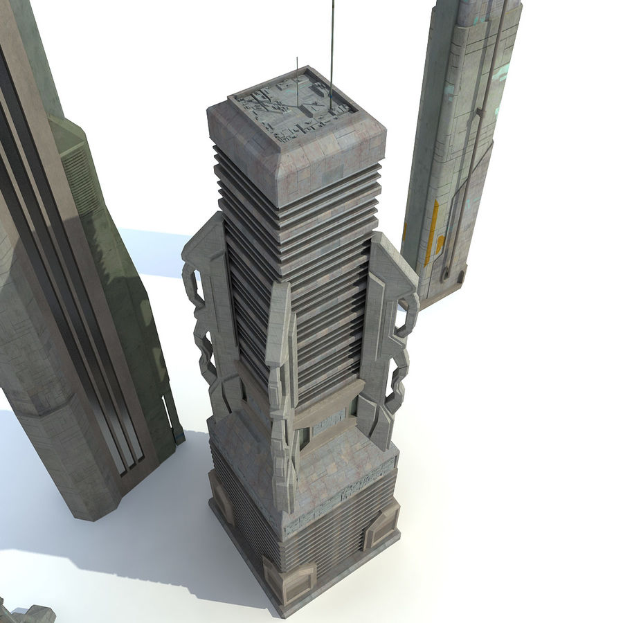 Sci fi City Set 4 futuriste royalty-free 3d model - Preview no. 8