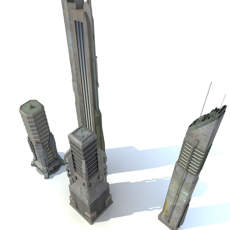 Sci fi City Set 4 Futuristic royalty-free 3d model - Preview no. 4
